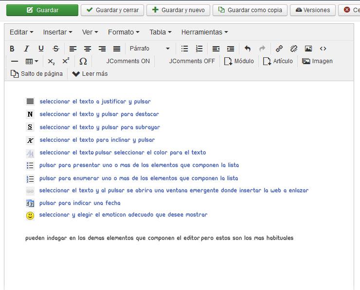 Crear un  articulo con Joomla!