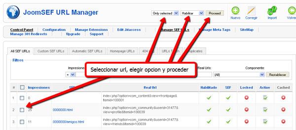 Configuracion JoomSEF en español para URLs amigables Joomla!